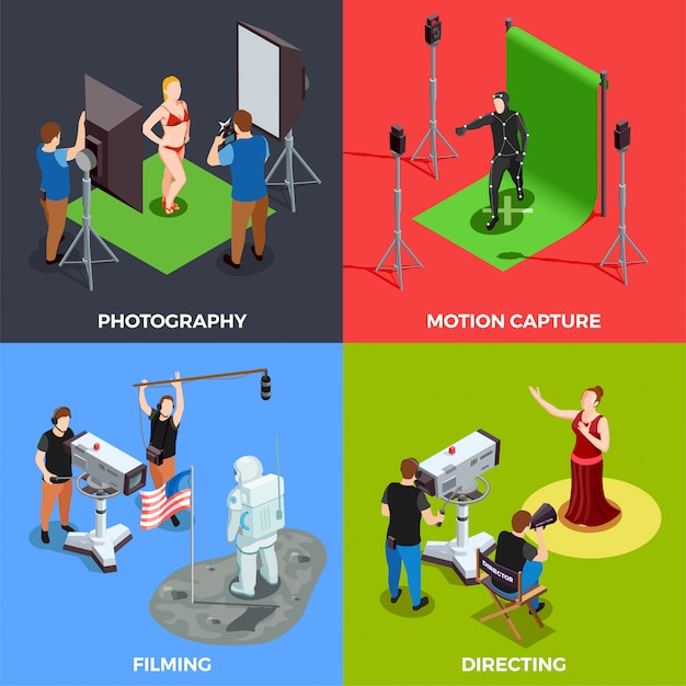 Cinematograph scene collection Free Vector