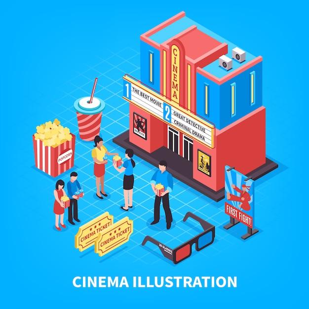 Cinematography isometric design concept Free Vector
