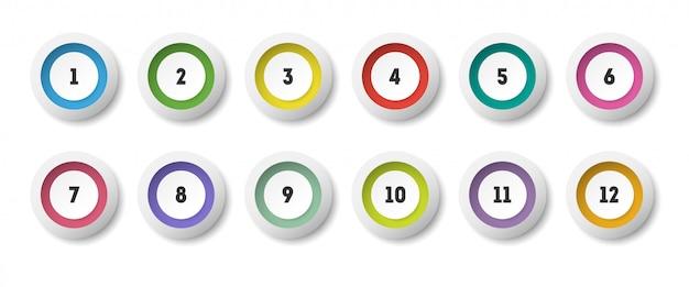1から12までの番号の箇条書きで設定された円の3dアイコン。 Premiumベクター
