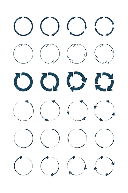 Circle arrows. round forms and shapes infographic symbols  collection Premium Vector