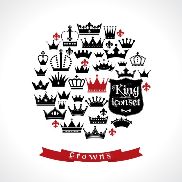 Circle background made up of crowns Free Vector
