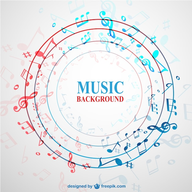 Circle background with music notes Free Vector
