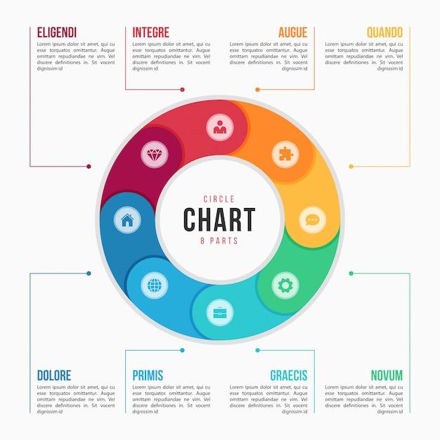 部品、プロセス、手順を持つ円グラフインフォグラフィックテンプレート Premiumベクター