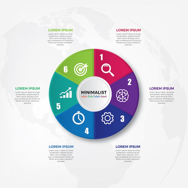 Circle chart infographic template Premium Vector