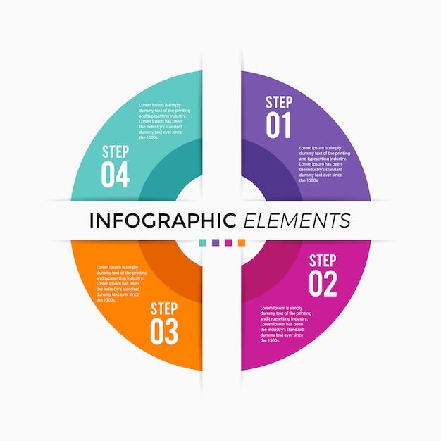 Circle chart infographic Premium Vector