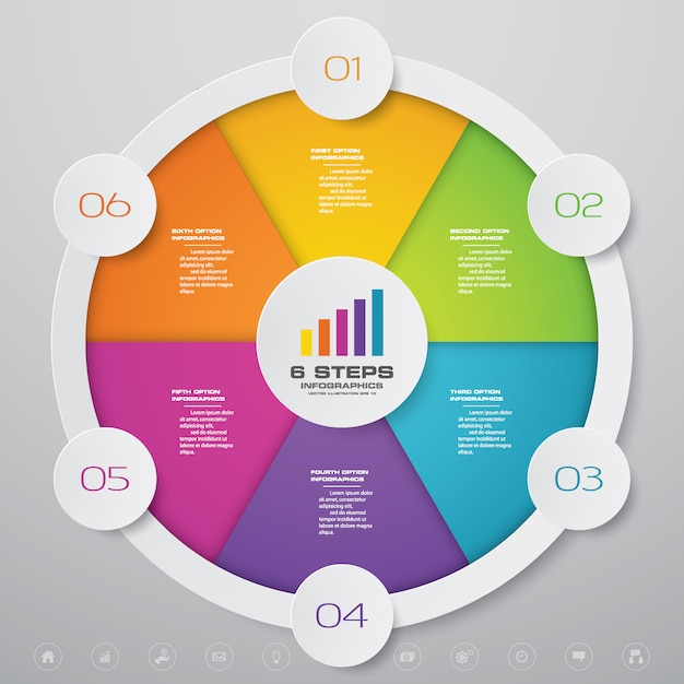 Circle chart infographics element Premium Vector