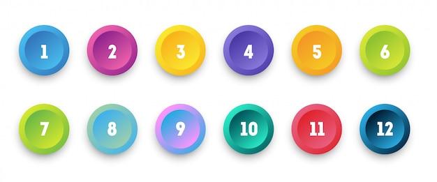 1から12までの番号の箇条書きで設定されたカラフルな3 dアイコンをサークルします。 Premiumベクター