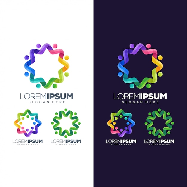 Circle colorful logo Premium Vector