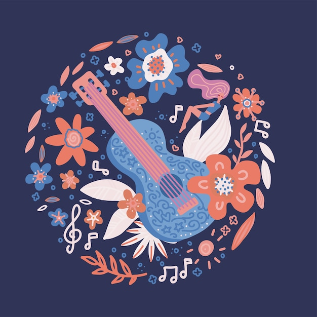 Circle composition of flowers entwined guitar Premium Vector