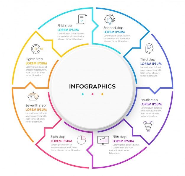 8つのオプションまたは手順のインフォグラフィックのサークルデザインテンプレートです。 Premiumベクター
