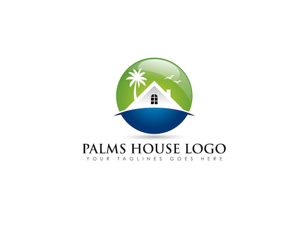 Circle emblem logo about beach real estate with white house and coconut tree behind Premium Vector