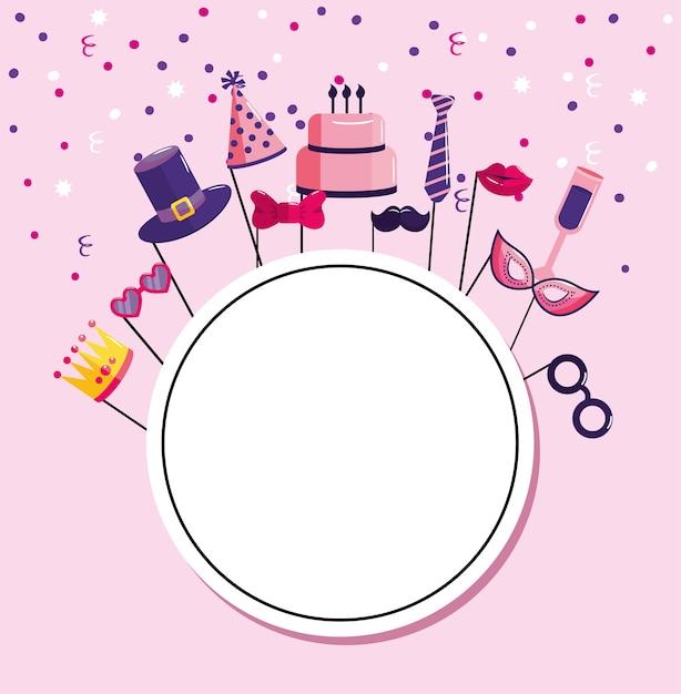 Circle emblem with decoration happy birthday Premium Vector
