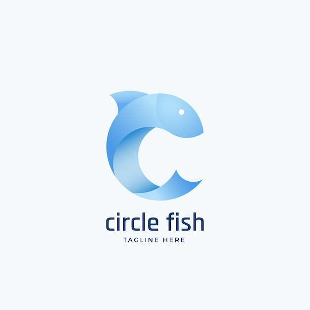 Circle fishsign, emblem or logo template. silhouette in the form of letter c. light blue clean gradient color. Premium Vector