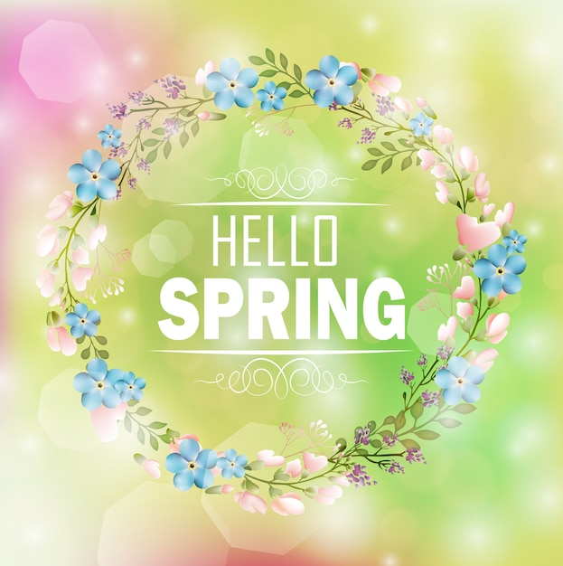 Circle floral frame spring theme with bokeh background Premium Vector
