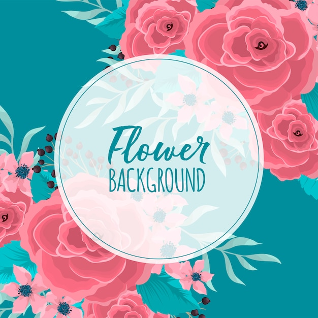 Circle flower border  pink flowers at mint green background Free Vector