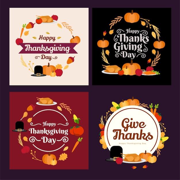 Круг рамка набор коллекция праздничный материал дизайн благодарения Premium векторы