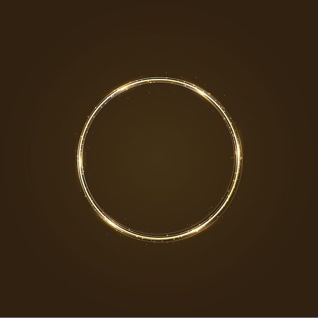 Circle frame with  light effect. golden comet with glowing tail of shining stardust sparkles Premium Vector