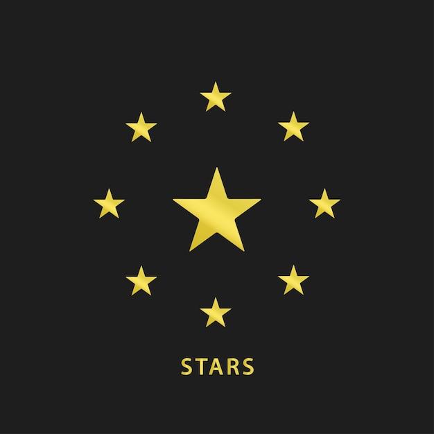 Значок золотых звезд круга Premium векторы