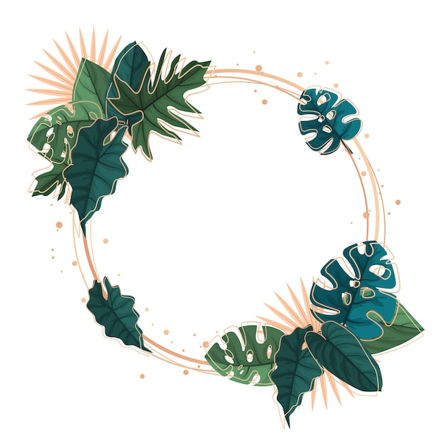 Circle green tropical plant summer leaf border frame background Premium Vector
