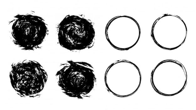 Круг гранж черный шаблон Premium векторы