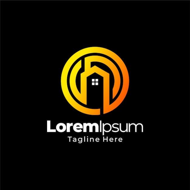 Круглый дом градиентный дизайн логотипа Premium векторы
