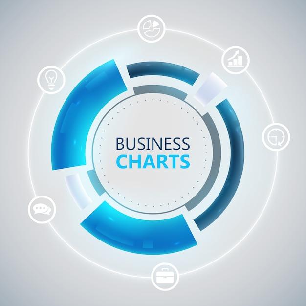 파란색 비즈니스 차트와 흰색 아이콘 원형 infographic 템플릿 무료 벡터