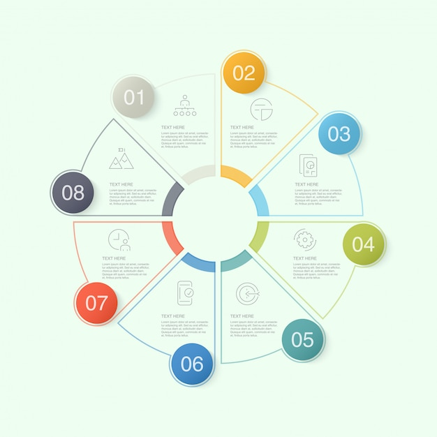 Circle infographic template with icons and 10 options or steps. Premium Vector