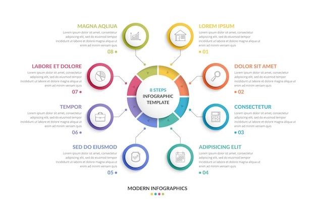 Circle infographic template Premium Vector