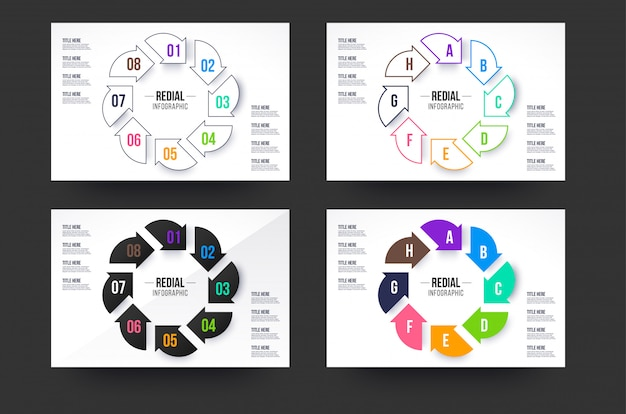 Circle infographics collection. eight steps infographic circle with four style colors. Premium Vecto
