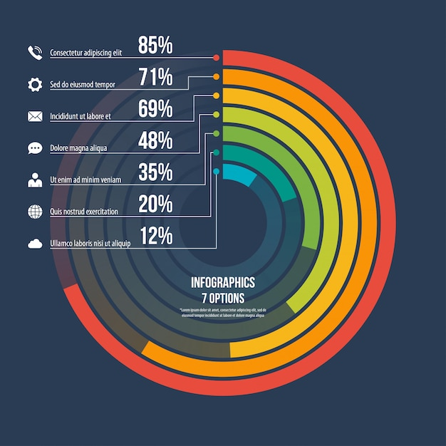 Circle informative infographic template 7 options Premium Vector