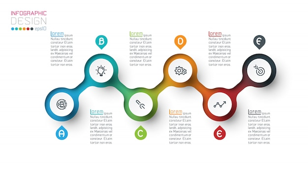 Circle label infographic template with step by steps. Premium Vector