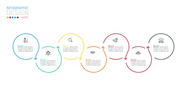 Circle label infographic with step by steps. Premium Vector