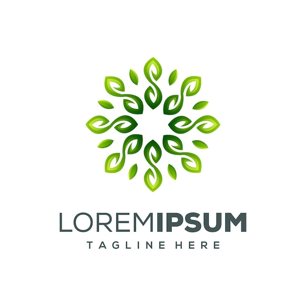 Circle leaf logo design vector illustration Premium Vector