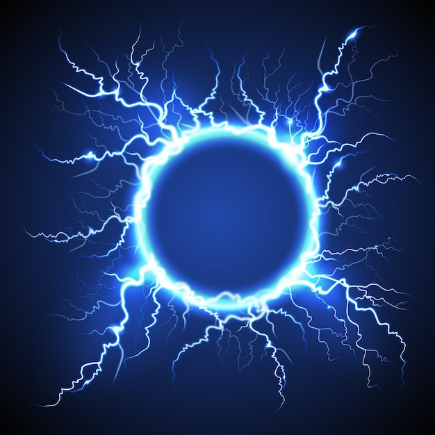 Circle lightning realistic blue background Free Vector