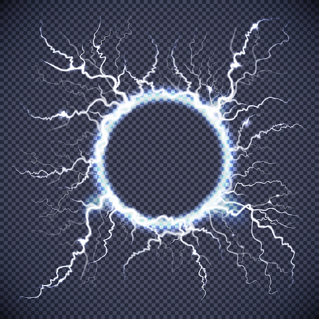 Circle lightning realistic transparent background Free Vector