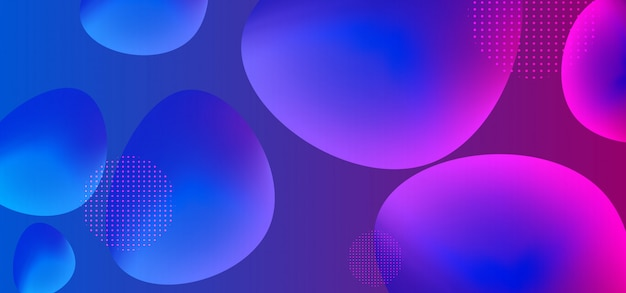 Circle liquid background with trendy colorful liquid shapes gradient Premium Vector