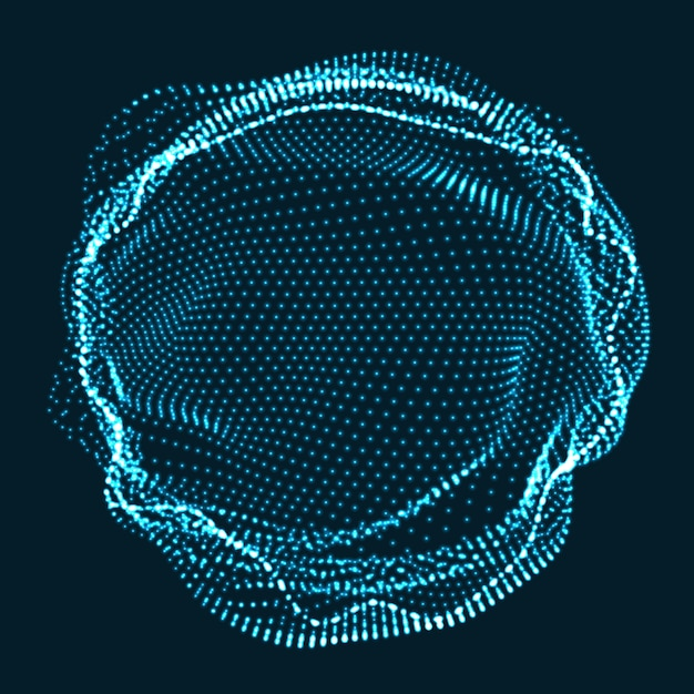 Circle made of neon particles Free Vector