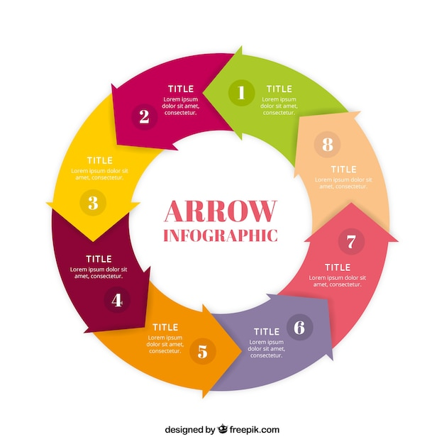 Circle made up of colored arrows Free Vector