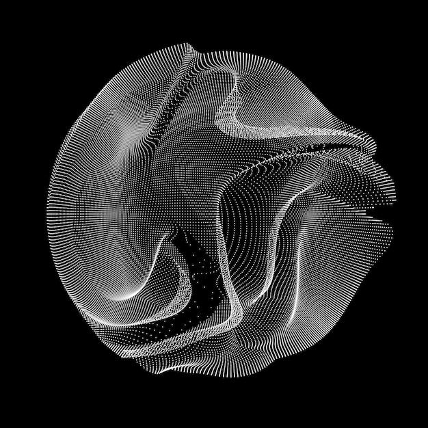 Circle made of wavy lines Free Vector
