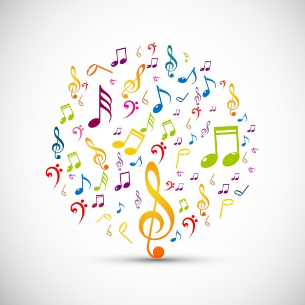 Circle made with colorful music notes Vector | Free Download  Circle made wit...