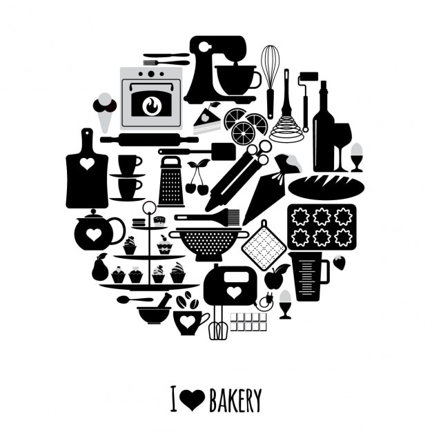 Circle made with elements of the bakery Free Vector