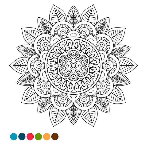 Circle mandala ornament antistress coloring Premium Vector