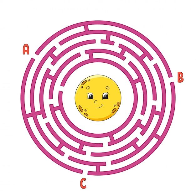Круг лабиринт. игра для детей. пазл для детей. Premium векторы