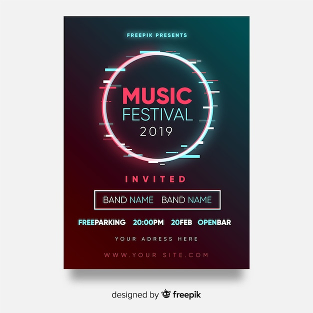 Circle music festival poster Free Vector