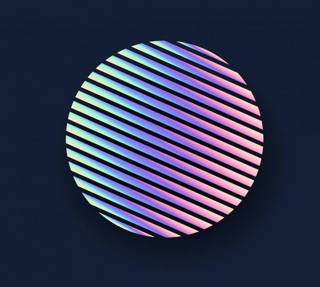Circle neon holographic background. Premium Vector