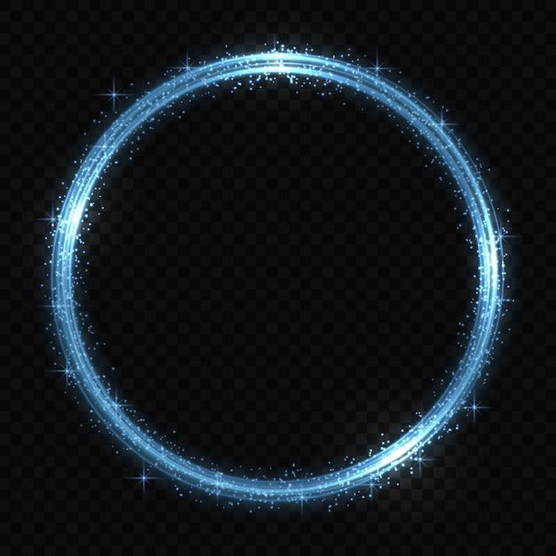 Circle neon light tracing effect Premium Vector