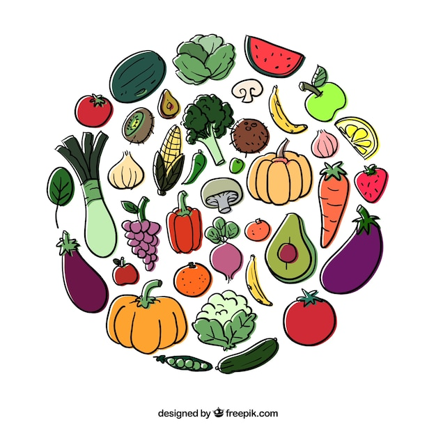 Circle Of Fruits And Vegetables Vector Free Download