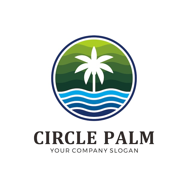 Circle palm logo with green and blue color Premium Vector