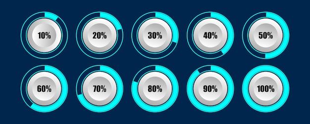 Круговая диаграмма загрузки индикатора загрузки в процентах лучше всего подходит для инфографики Premium векторы