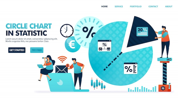 Circle or pie chart for statistics, analysis, marketing planning & strategy. Premium Vector